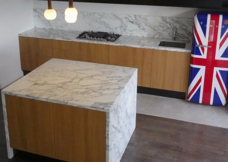 Plan de travail marbre arabescato extra cuisine paris ile de france - Extra cuisine ile de france ...